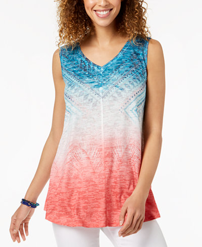 Style & Co Petite Printed Ombré Top, Created for Macy's