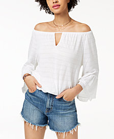 Lucky Brand Off-The-Shoulder Bell-Sleeve Top