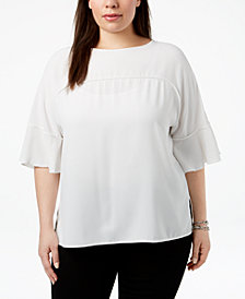 Nine West Plus Size Flutter-Sleeve Top