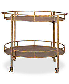 Metal Oval 2-Tier Bar Cart on Casters