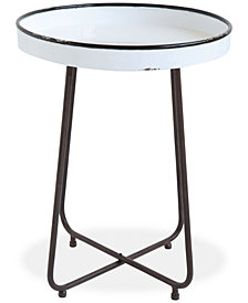 Round Distressed White Metal Table with Black Rim