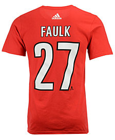 adidas Men's Justin Faulk Carolina Hurricanes Silver Player T-Shirt
