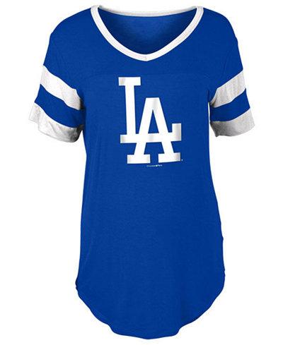 5th & Ocean Women's Los Angeles Dodgers Sleeve Stripe Relax T-Shirt