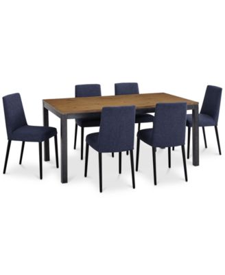 Gatlin Dining Furniture, 7-Pc. Set (Dining Table & 6 Blue Dining Chairs), Created for Macy's