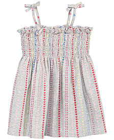 First Impressions Baby Girls Dot-Print Smocked Cotton Sundress, Created for Macy's