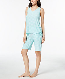 Alfani Geometric-Print Pajama Tank & Bermuda Shorts, Created for Macy's