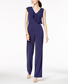 NY Collection Petite Asymmetrical Flounce-Trim Jumpsuit