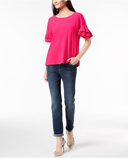 INC International Concepts INC Ruffled-Sleeve Top & Boyfriend Jeans, Created for Macy's
