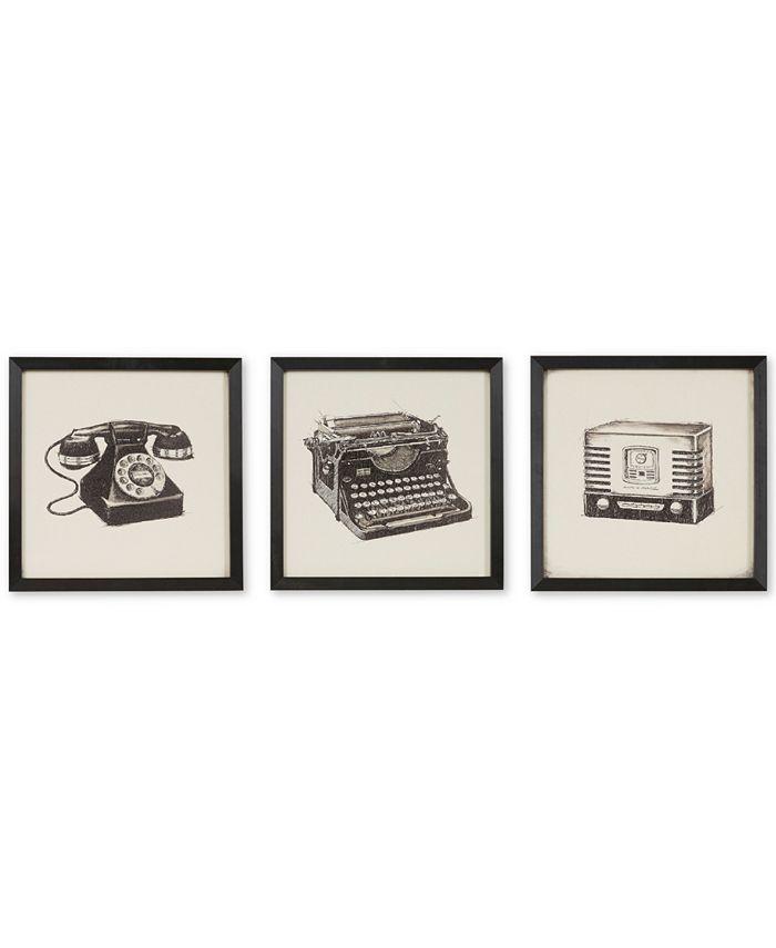JLA Home - Vintage Models 3-Pc. Gel-Coated Print Shadowbox Set
