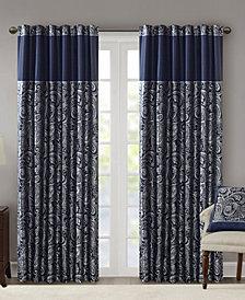 "Madison Park Aubrey 50"" x 95"" Paisley Jacquard Faux-Silk Rod Pocket/Back Tab Curtain Panel Pair"