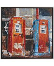INK+IVY Gas Pumps Hand-Embellished Gel-Coated Canvas Print