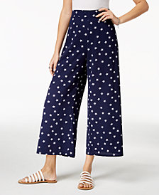 Ultra Flirt By Ikeddi Juniors' Star-Print Cropped Pants