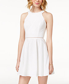 City Studios Juniors' Eyelet Fit & Flare Dress
