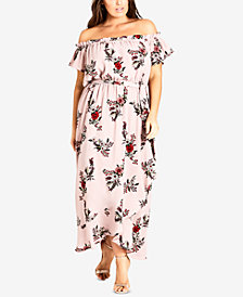 City Chic Trendy Plus Size Printed Off-The-Shoulder Maxi Dress