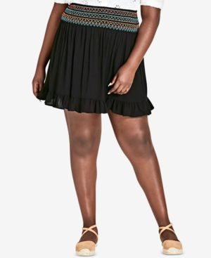 Trendy Plus Size Embroidered Ruffled Skirt, Black