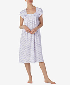 Eileen West Ballet Floral-Print Cotton Knit Nightgown
