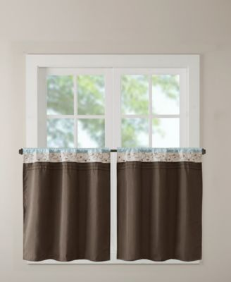 "Serene 60"" x 24"" Colorblocked Embroidered Rod Pocket Kitchen Tier Pair"