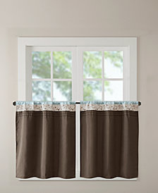 "Madison Park Serene 60"" x 24"" Colorblocked Embroidered Rod Pocket Kitchen Tier Pair"