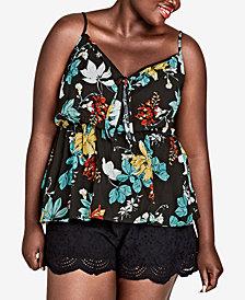 City Chic Trendy Plus Size Tropic Night Tie-Detail Top