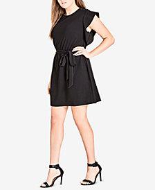 City Chic Trendy Plus Size Flutter-Sleeve Tunic Dress