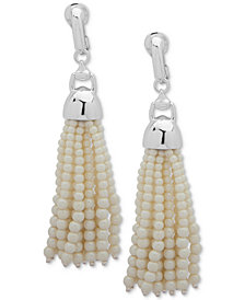 Lauren Ralph Lauren Silver-Tone & Imitation Pearl Tassel Clip-On Drop Earrings
