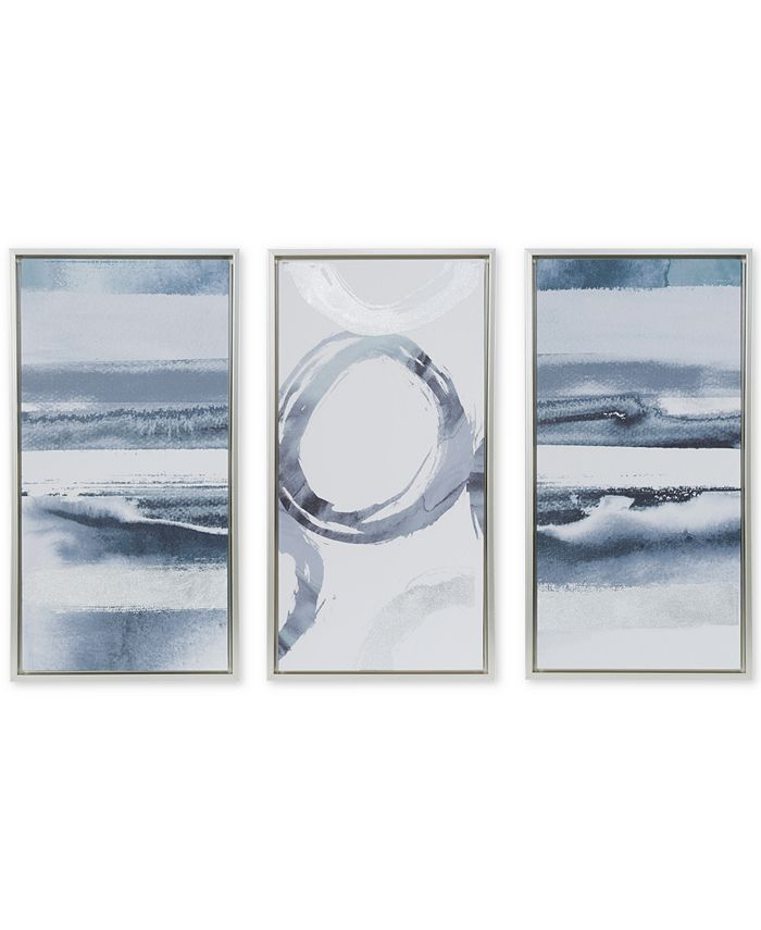 JLA Home - Grey Surrounding 3-Pc. Framed Gel-Coated Canvas Print Set with Silver-Tone Foil