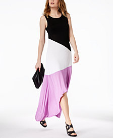 I.N.C. Colorblocked High-Low Maxi Dress, Created for Macy's