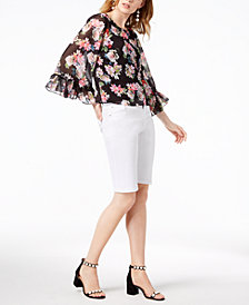 I.N.C. Wide-Ruffle Top & White Denim Shorts, Created for Macy's