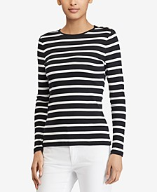 Button-Shoulder Striped Top