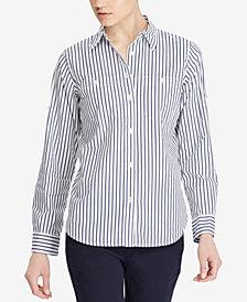 Lauren Ralph Lauren Striped Cotton Pocket Shirt