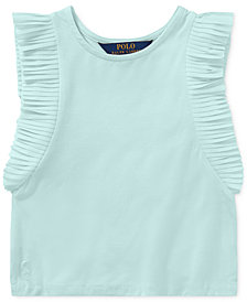 Polo Ralph Lauren Flutter-Sleeve Top, Little Girls