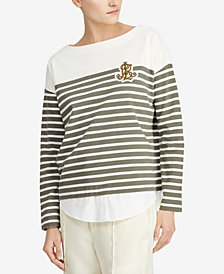 Lauren Ralph Lauren Petite Breton-Striped Cotton Sweater