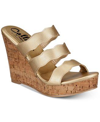 Callisto Flure Slip-On Platform Wedge Sandals Women's Shoes