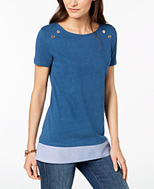 Tommy Hilfiger Cotton Layered-Look T-Shirt, Created for Macy's