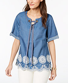 Tommy Hilfiger Cotton Embroidered Chambray Top, Created for Macy's