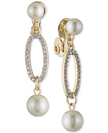 Anne Klein Gold-Tone Imitation Pearl & Pavé E-Z Comfort Clip-on Drop Earrings