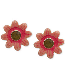 Anne Klein Gold-Tone Stone Multicolor Flower E-Z Comfort Clip-on Earrings