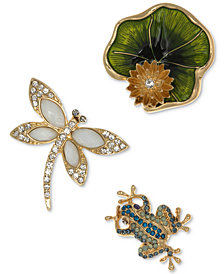 Anne Klein Gold-Tone 3 Pc. Set Crystal & Enamel Garden Themed Pins, Created for Macy's