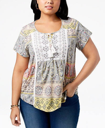 Style & Co Plus Size Mixed-Print Crochet-Trim Peasant Top, Created for Macy's