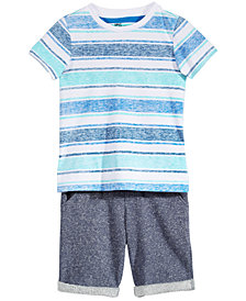 Epic Threads Aloha Striped T-Shirt & Knit Short Separates, Little Boys, Created for Macy's