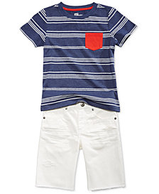 Epic Threads Pocket Striped T-Shirt & White Cotton Shorts Separates, Little Boys, Created for Macy's