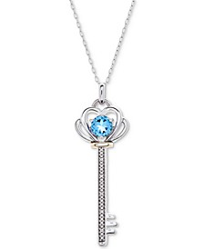 """Blue Topaz (5/8 ct. t.w.) & Diamond Accent Key 18"""" Pendant Necklace in Sterling Silver & 10k Gold"""