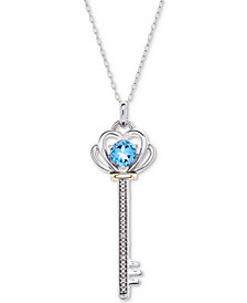 "Blue Topaz (5/8 ct. t.w.) & Diamond Accent Key 18"" Pendant Necklace in Sterling Silver & 10k Gold"