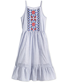 Epic Threads Striped Embroidered Dress, Big Girls, Created for Macy's