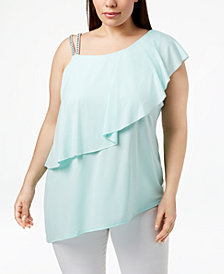 Belldini Plus Size One-Shoulder Rhinestone Tunic