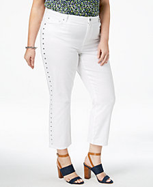 MICHAEL Michael Kors Plus Size Studded Cropped Jeans