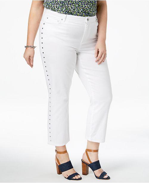 945e0fe32ff2f Michael Kors Plus Size Studded Cropped Jeans - Jeans - Plus Sizes ...