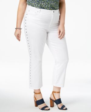 Michael Michael Kors Plus Size Studded Cropped Jeans 6003267
