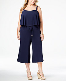 MICHAEL Michael Kors Plus Size Cropped Wide-Leg Jumpsuit
