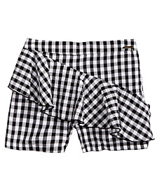 GUESS Ruffle-Trim Gingham Shorts, Big Girls